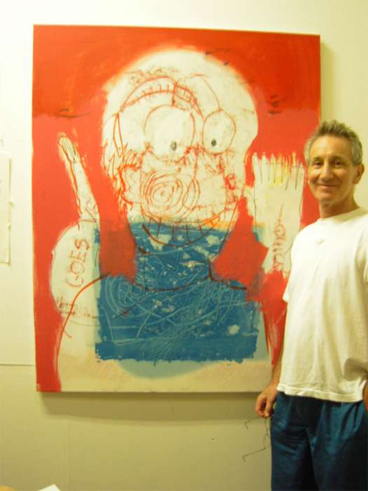 Self portrait (with me) - mixed media on canvas