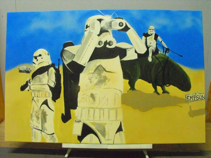 StarWars (acrylic/spray paint) Available for purchase http://www.ninjastah.com